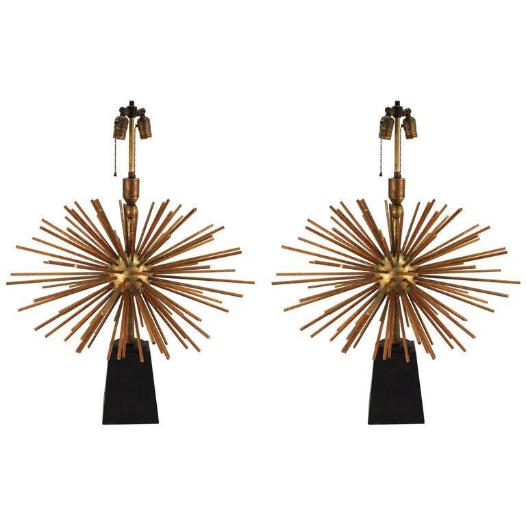 A. Pani Attrib Mid-Century Sputnik Bronze Lamps Pr
