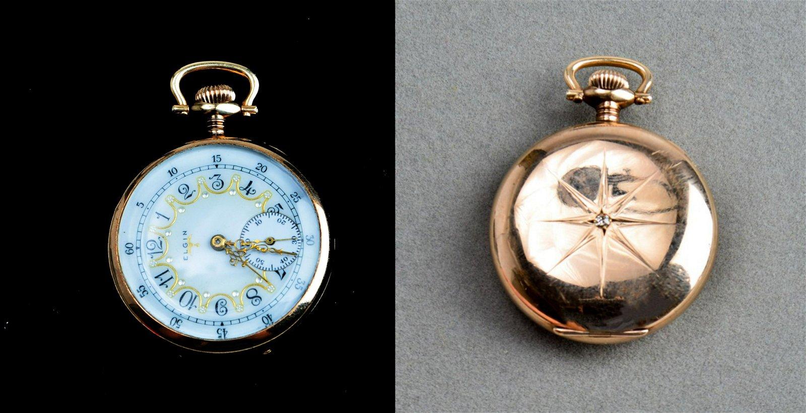 Elgin Gold-Filled Diamond Open-Face Pocket Watch