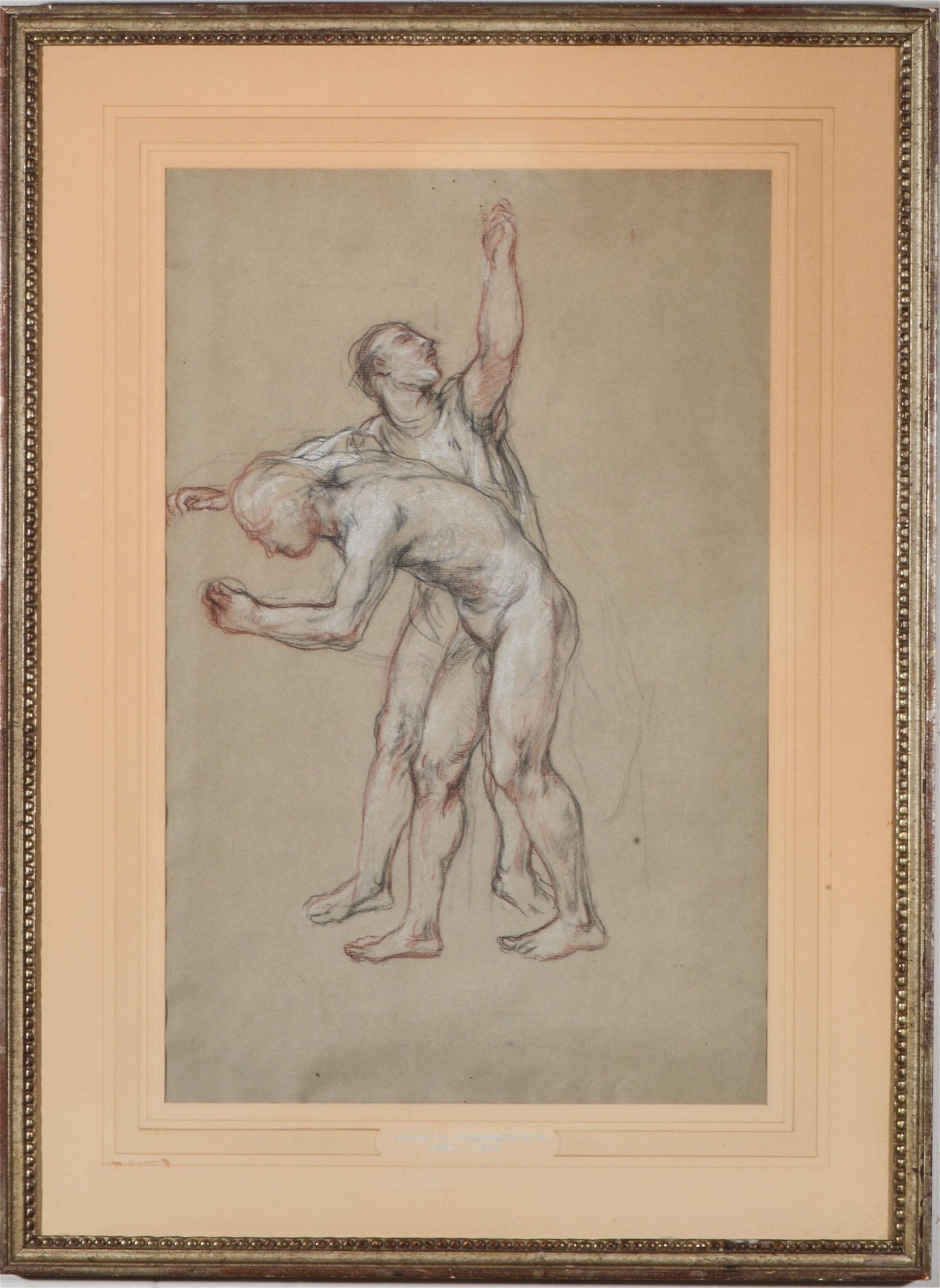 """Charles Shannon """"Two Figures"""" Mixed Media Drawing"""