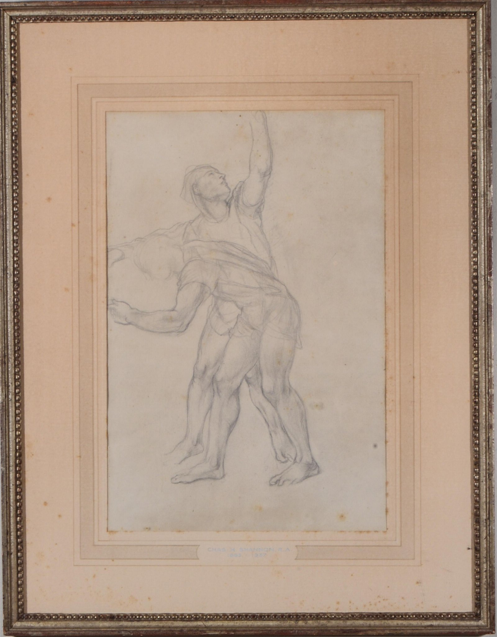 """Charles Shannon """"Two Figures"""" Pencil Drawing"""