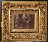 Cavaliers in a Tavern Signed Amato Oil on Canvas