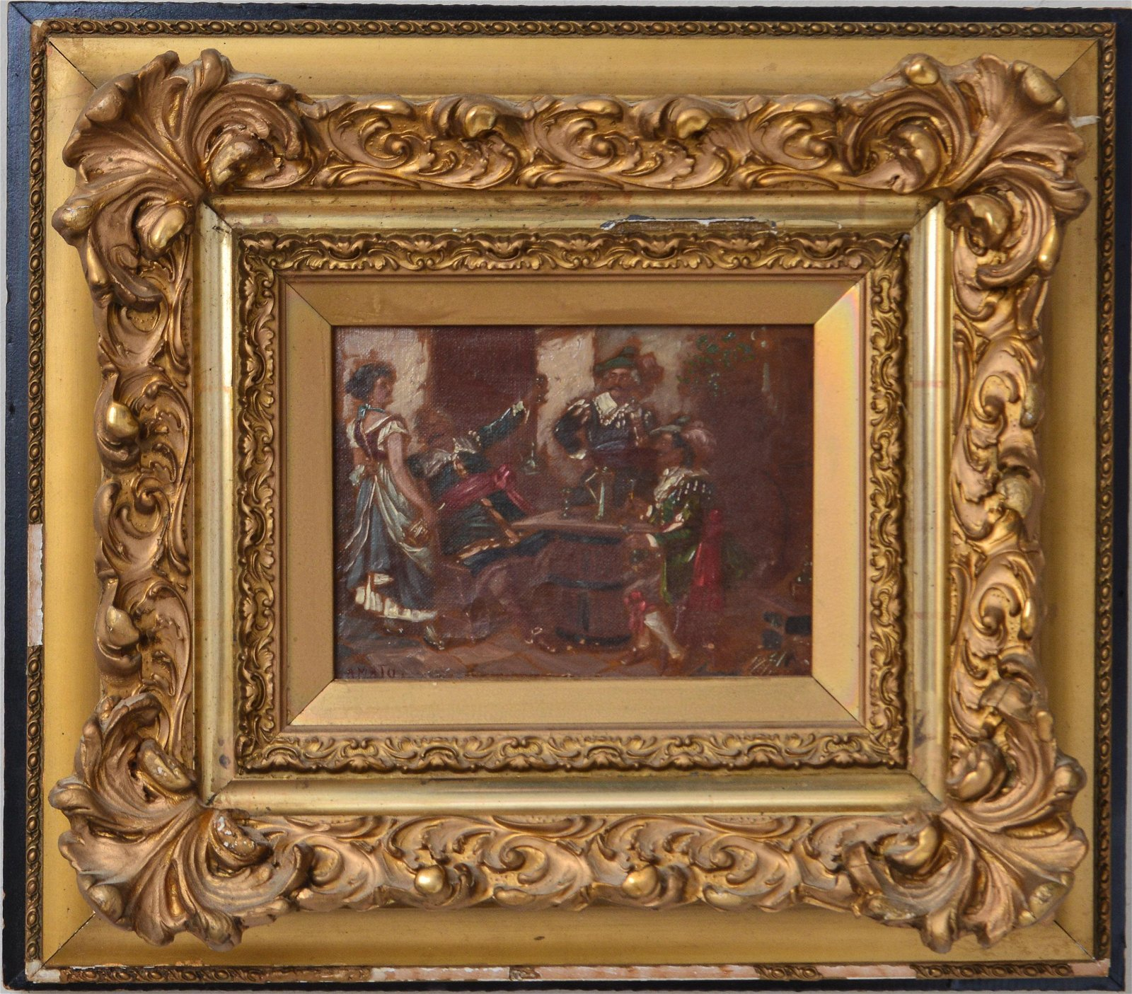"""""""Cavaliers in a Tavern"""" Signed Amato Oil on Canvas"""