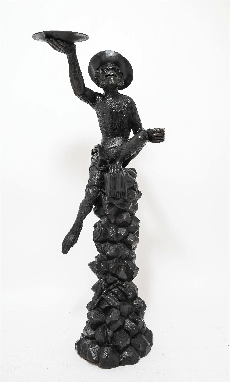Large Black Forest Carved Wood Monkey Sculpture