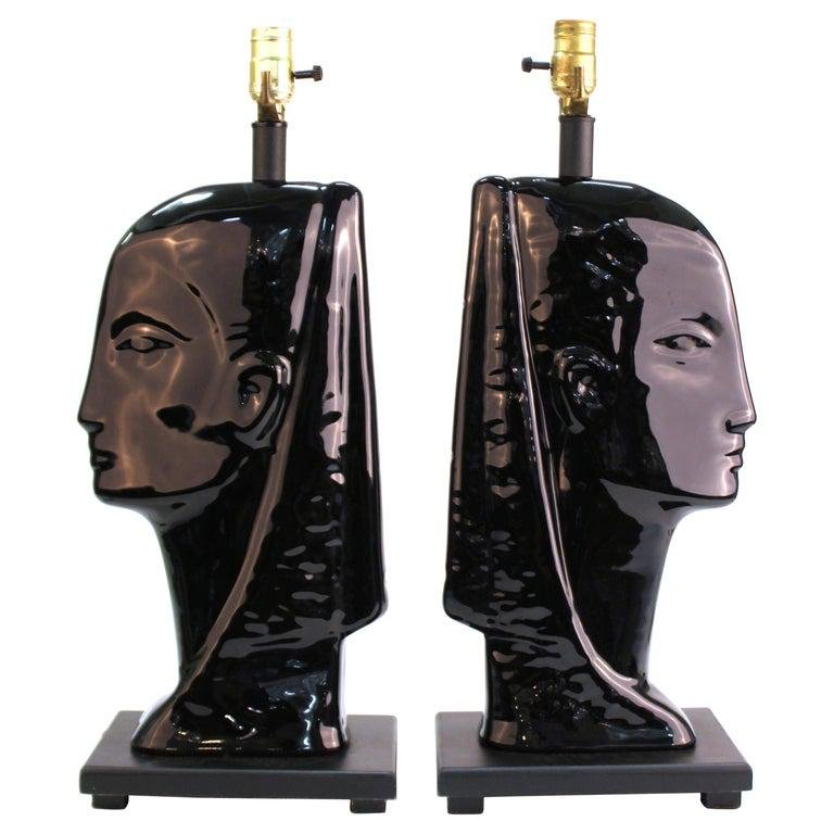 Mid-Century Modern Black Ceramic Head Table Lamps