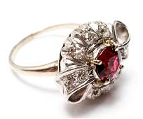 14K Gold w Red Spinel & 10 Diamonds Cocktail Ring