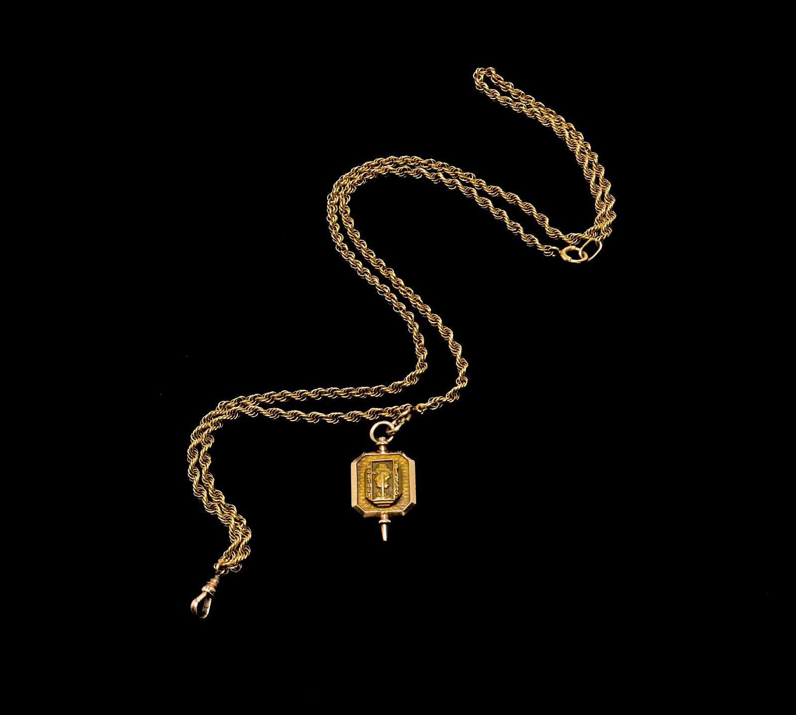 14K Gold Rope Chain Watch Fob w 10K Gold Pendant