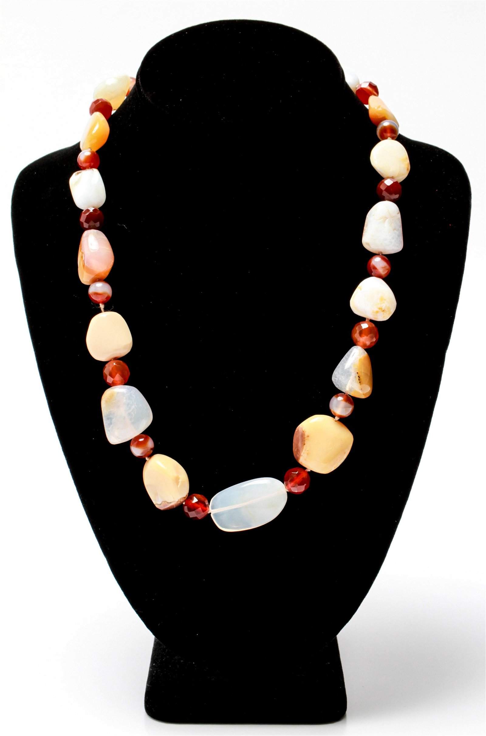 14K Gold & Carnelian, Agate & Quartz Necklace