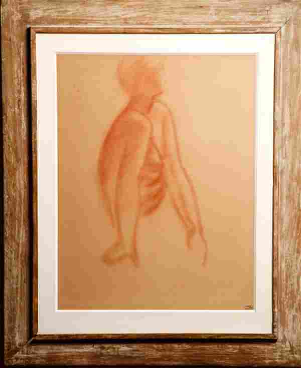 """Andre Derain """"Seated Woman"""" Red Chalk on Paper"""