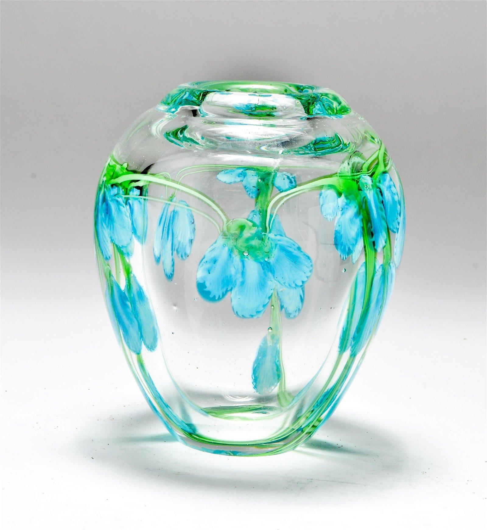 Modern Art Glass Floral Motif Hand-Blown Vase