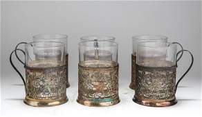 Russian Silver Holders w Baccarat Glasses Set 6