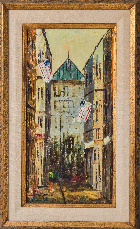 Signed Emanuel Katz City Street Oil on Canvas