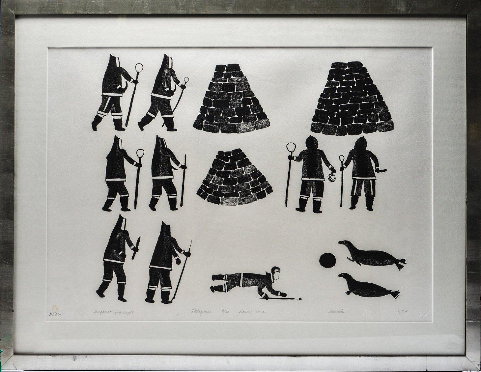 "Jamasie Teevee ""Fox Traps"" Cape Dorset Lithograph"