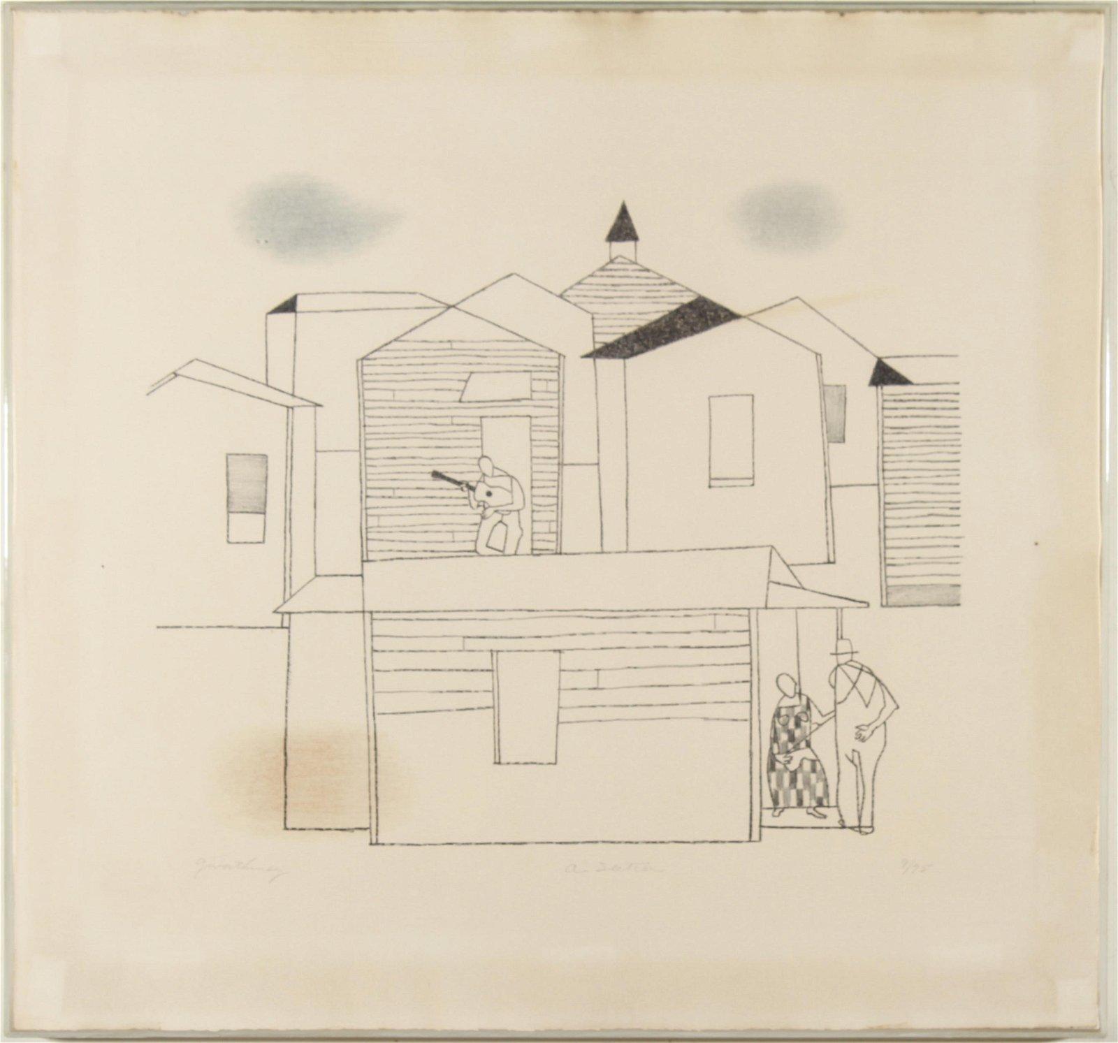 """Robert Gwathmey """"A Section"""" Lithograph"""