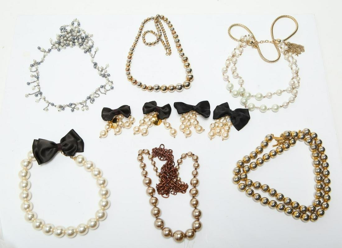 Faux Pearl & Gilt Bead Costume Jewelry, 9 Pieces-