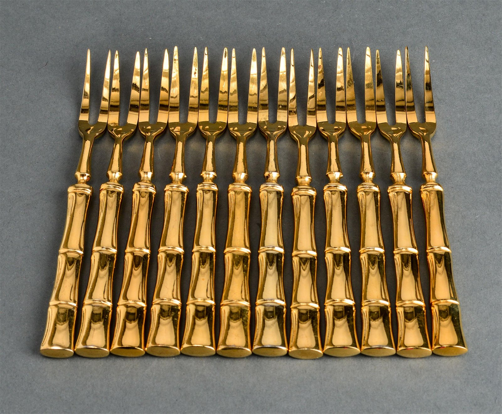 Gold-Tone Bamboo Motif Hors D'oeuvre Forks Set 12