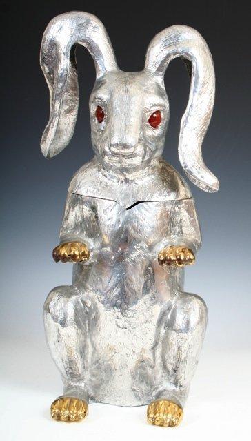3005: Arthur Court Aluminum Rabbit Ice Bucket