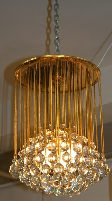 3006: French Suspended Crystal Glass Ball Chandelier