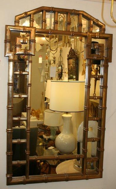3007: Gold Leaf Faux Bamboo Regency Mirror circa 1940's