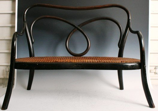 3019: Thonet Bentwood and Cane Child's Settee
