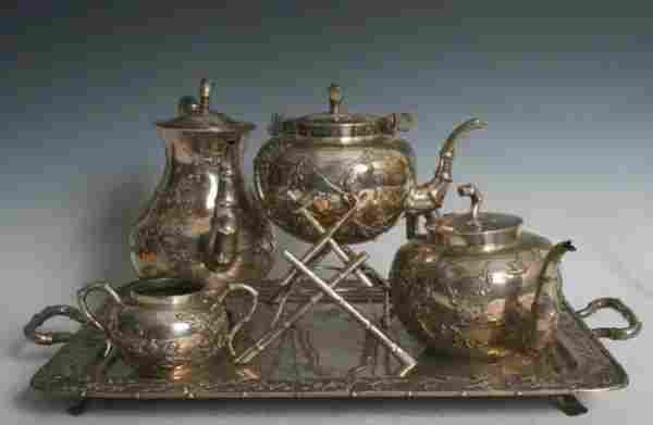 3419: 19 Century Chinese Sterling Silver 5 Piece Tea S