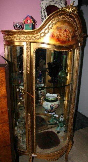 3533: Victorian Gilt Vitrine with Handpainted Cherubs