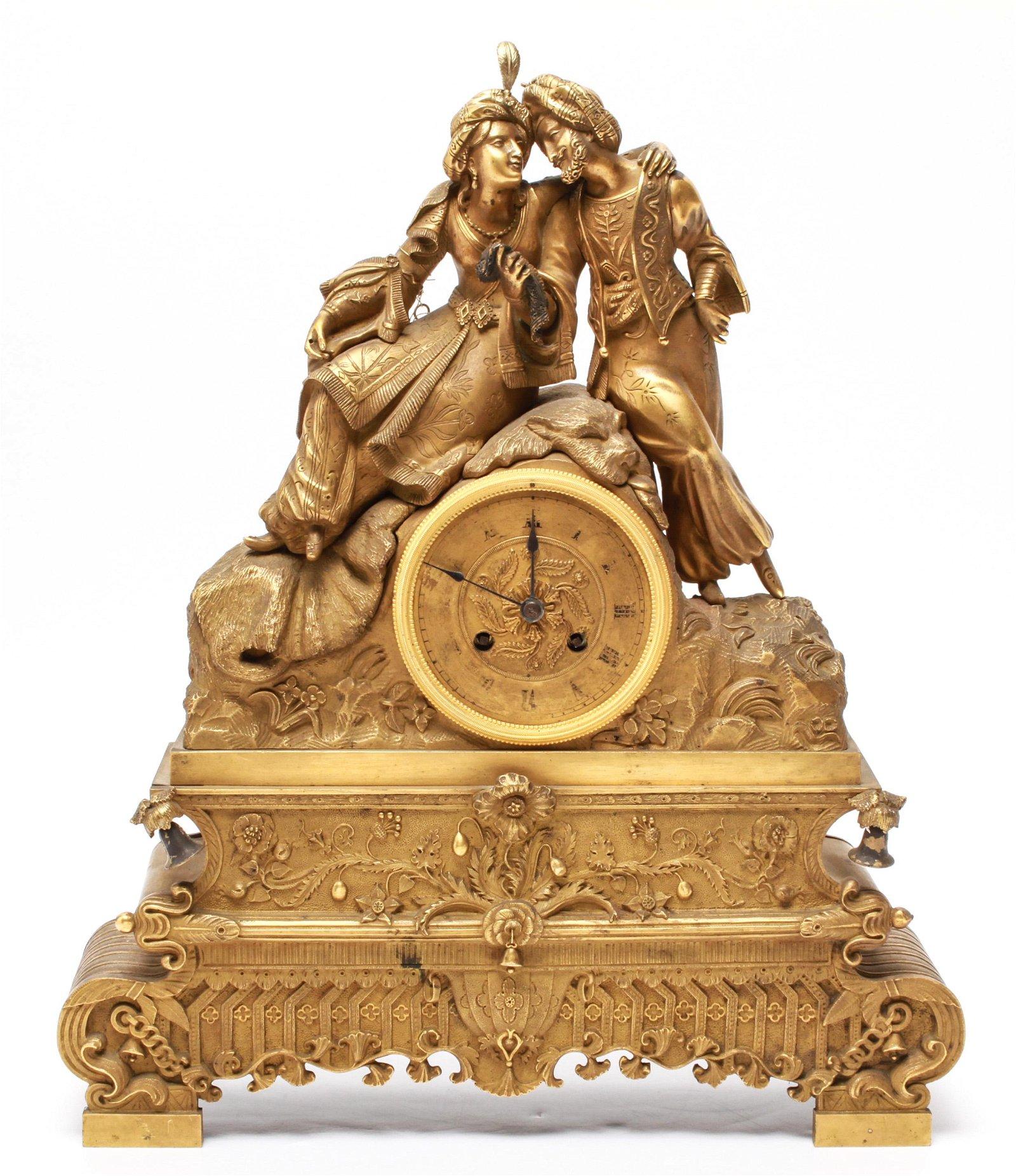 Orientalist Gilt-Bronze Figurative Mantel Clock