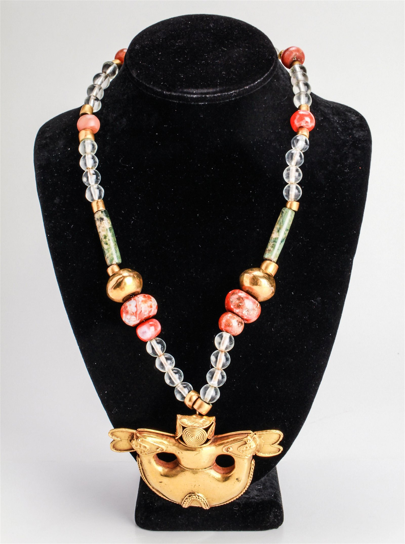 Pre-Columbian Tumbaga Gold Pendant Beads Necklace