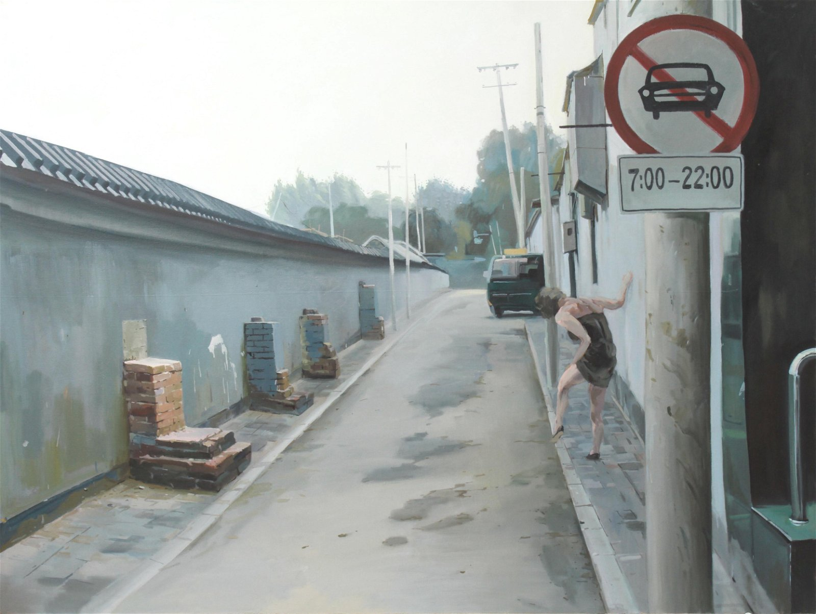 "Liang Hongli ""Woman Walking"" Large Oil on Canvas"