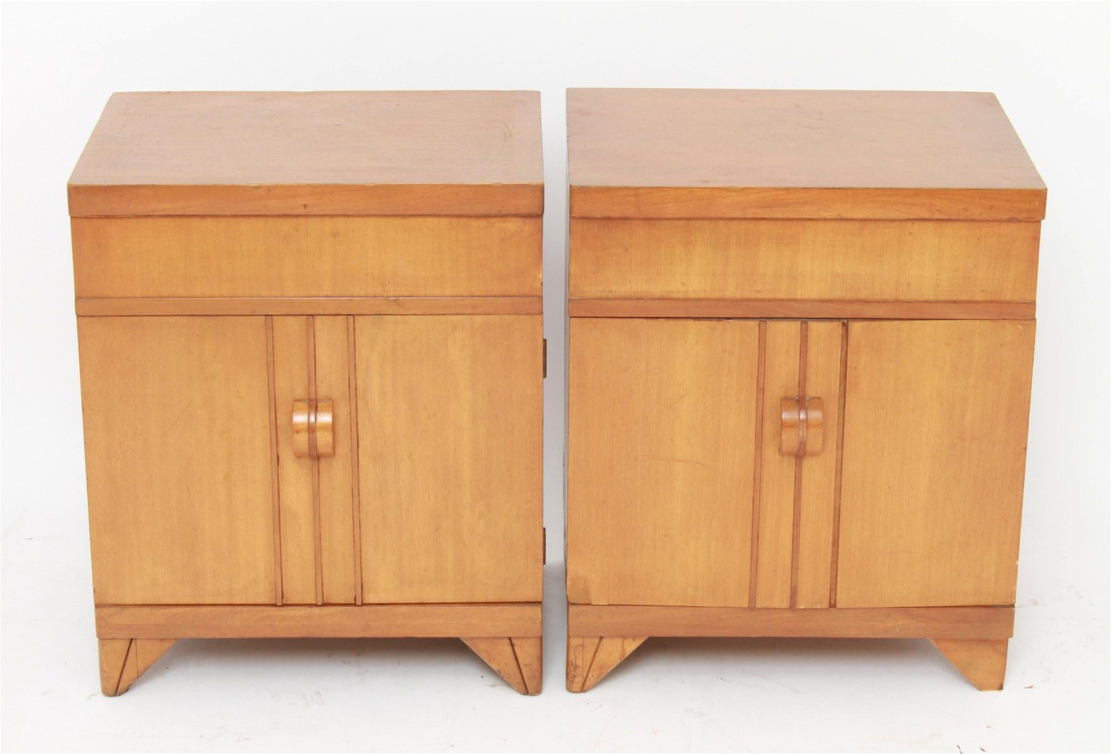 Deskey Style Mid-Century End Tables, Pair
