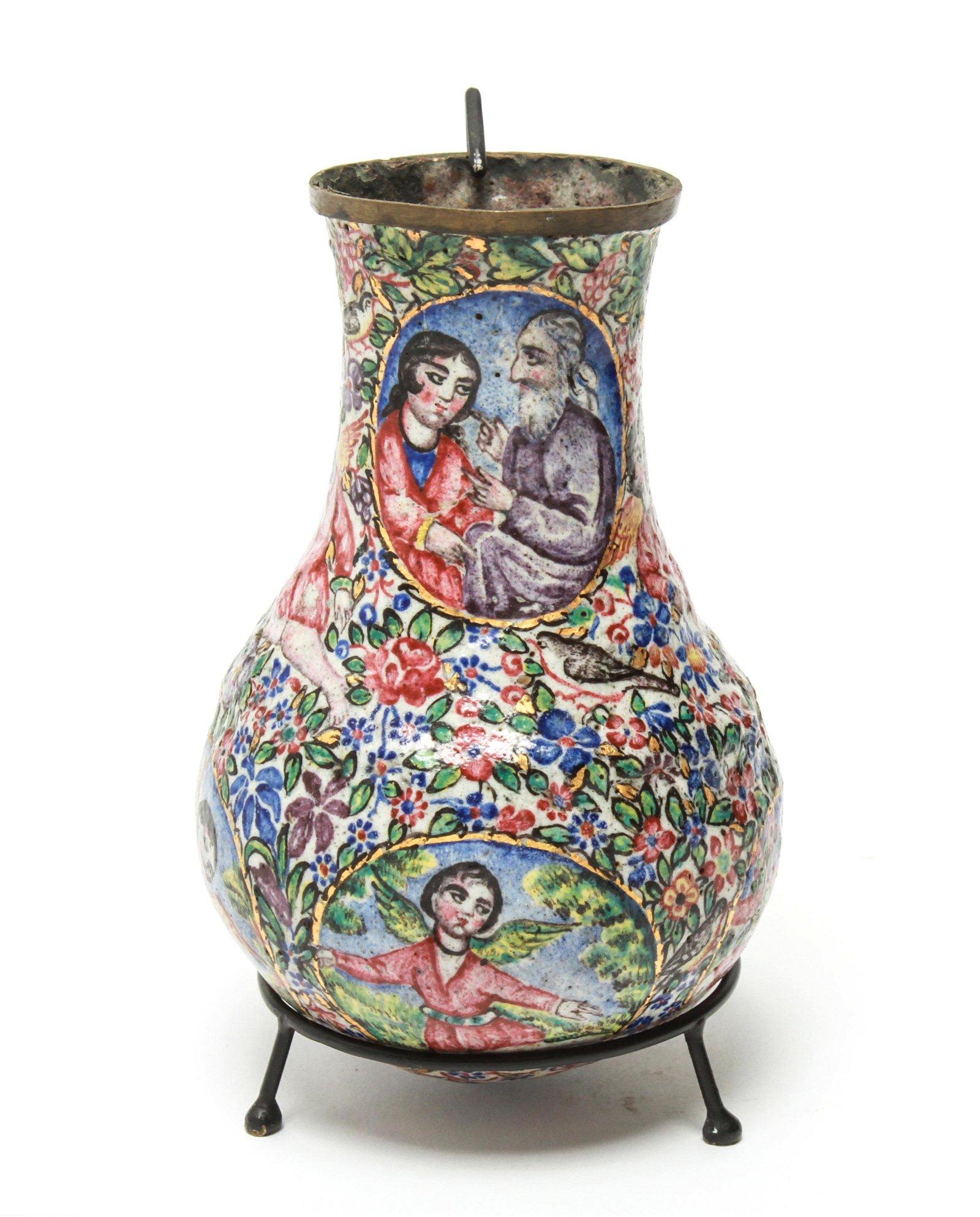 Qajar Iranian Enamel on Copper Vase w Figures