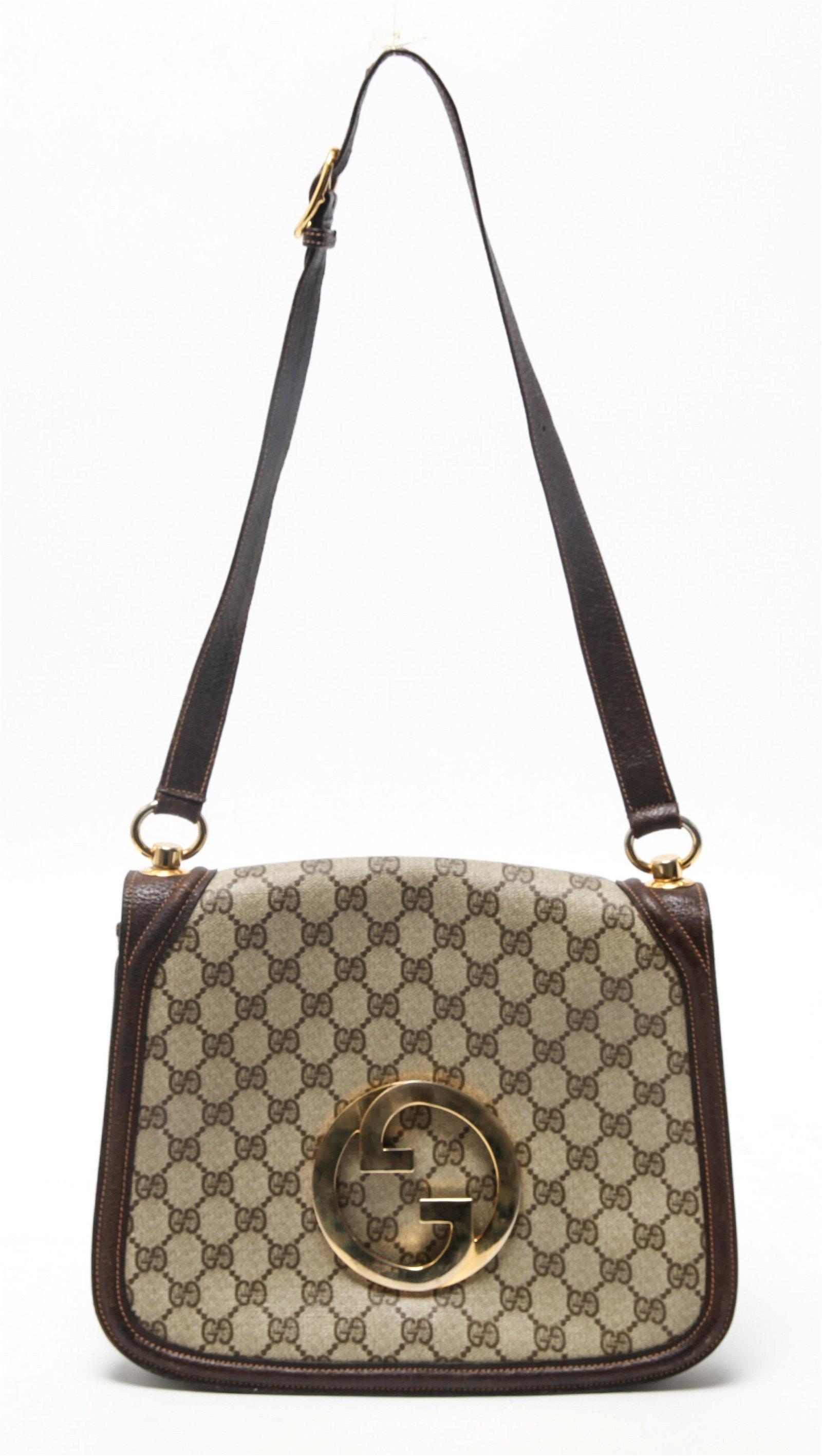 Gucci Designer Monogram Canvas & Leather Bag
