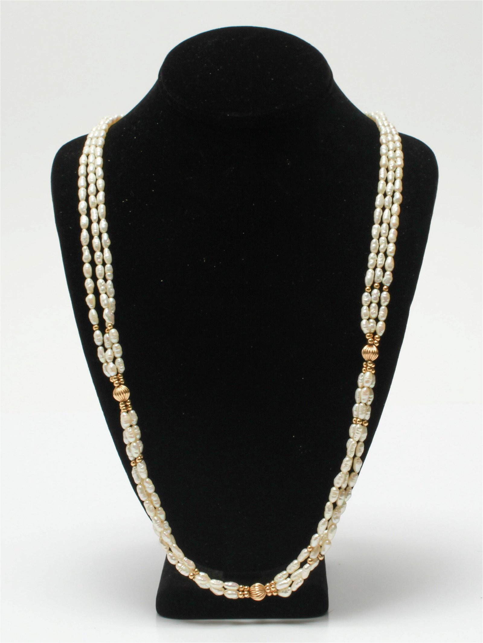 14K Gold Three Strand Freshwater Pearl Necklace