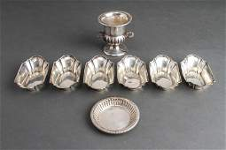 Sterling Silver Nut Dishes Set 6 & Urn w Plate 8