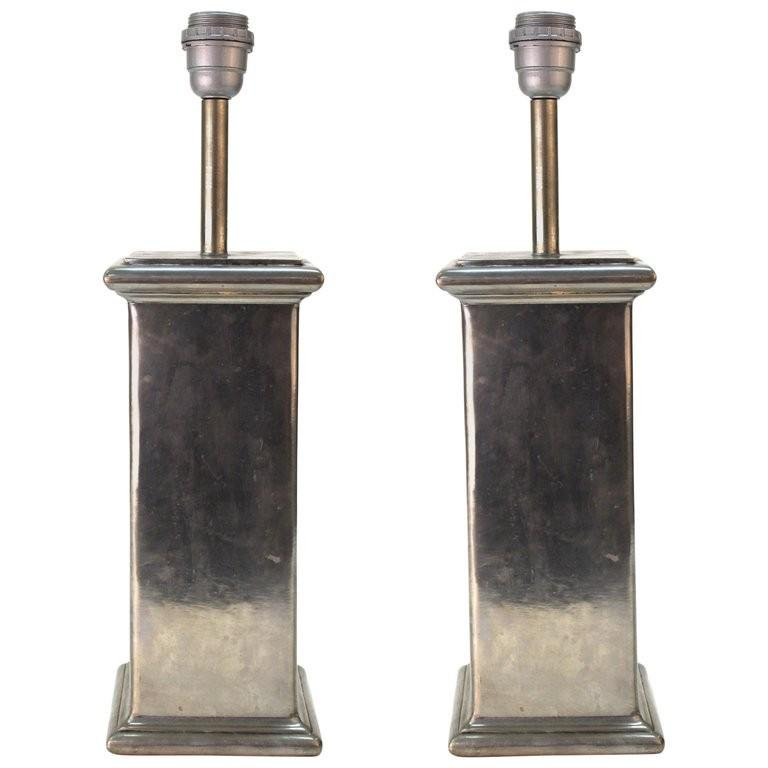 French Pewter Handmade Table Lamps, Pair