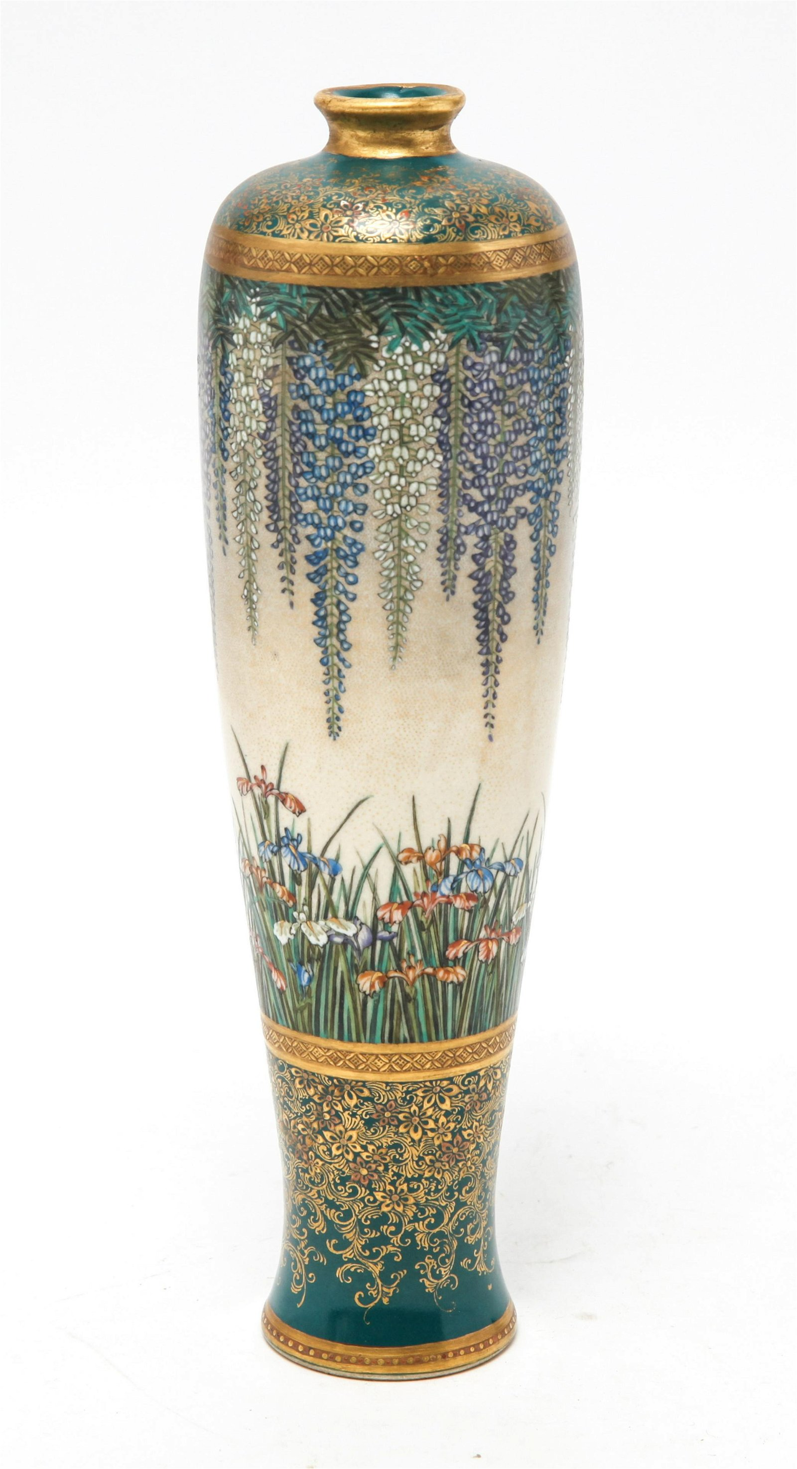 Japanese Satsuma Wisteria & Iris Hand-Painted Vase