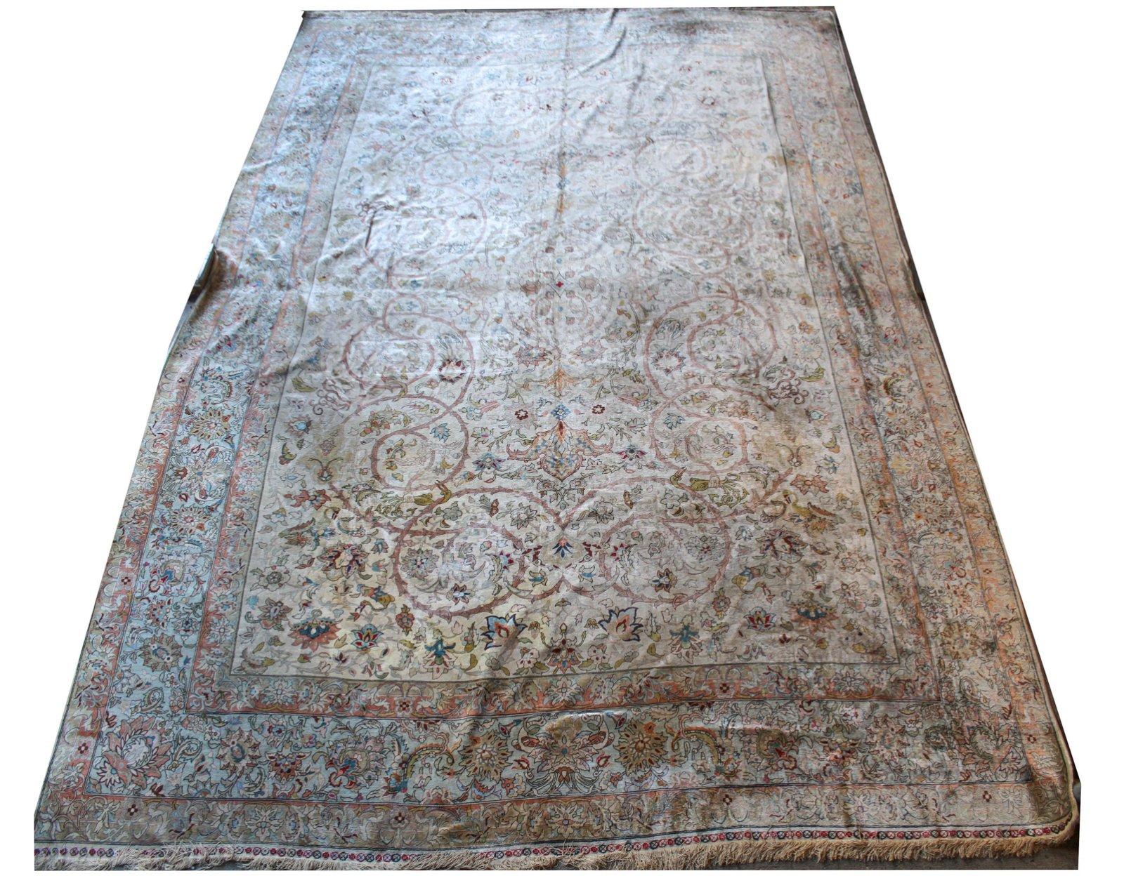 "Signed Persian Garden Silk Carpet 16' 10"" L x 11' 6"" W."