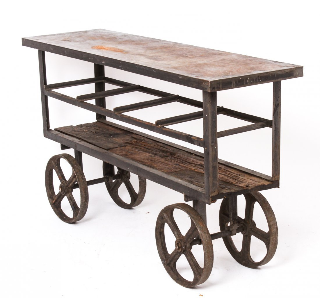 Industrial Metal Console Cart on Large Wheels
