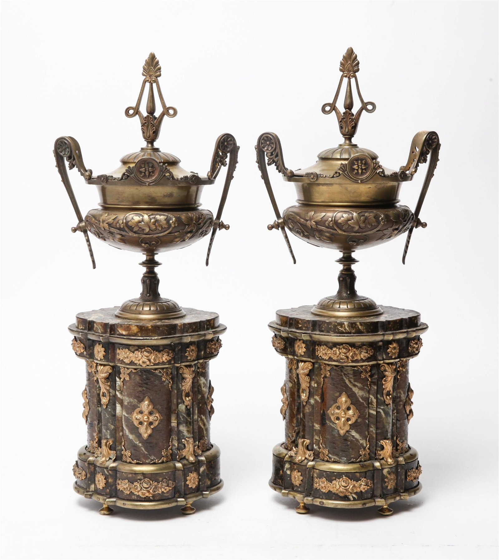 Pair of Gilt Metal Urns on Faux Marble Bases