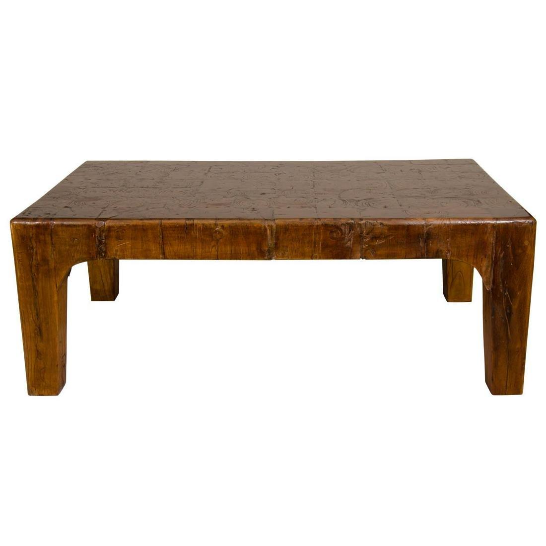 Modern Natural Wood Block Coffee Table