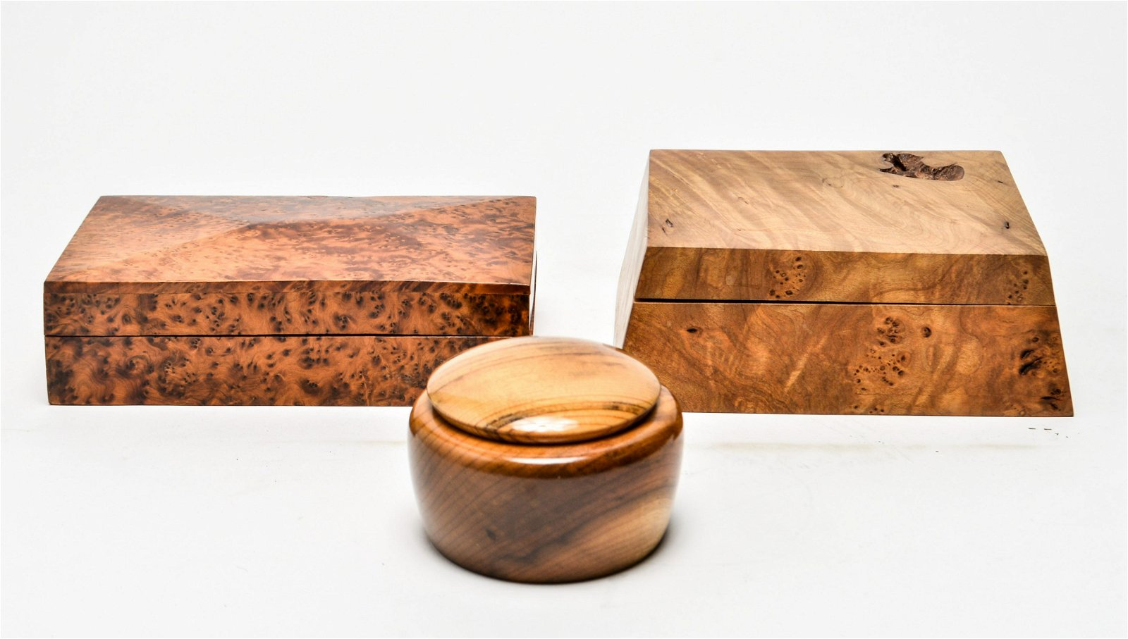 Jewelry Boxes, Burlwood & Myrtle Wood, Group of 3