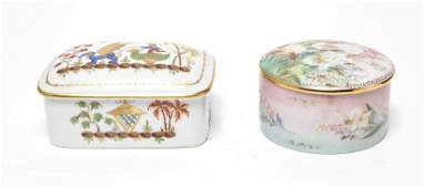 French Vanity Box  Music Box Porcelain Group of 2