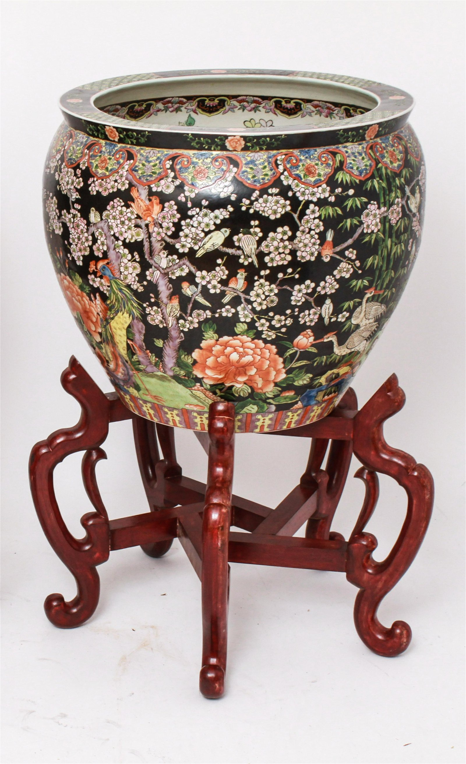 Chinese Porcelain Famille Noire Fish Bowl & Stand