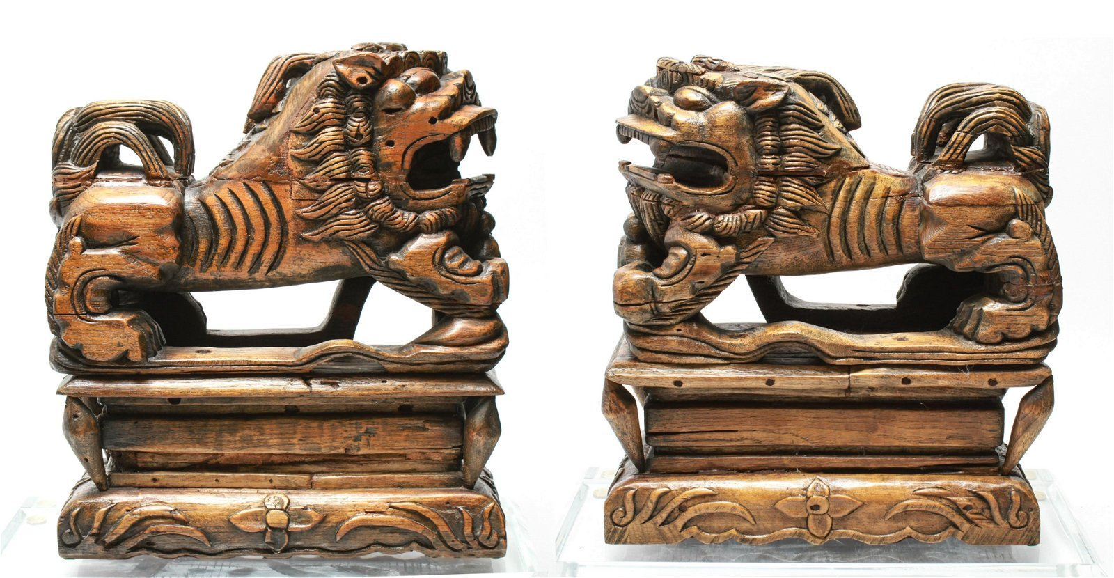 Chinese Large Foo-Lions / Dogs Wood Sculptures Pr