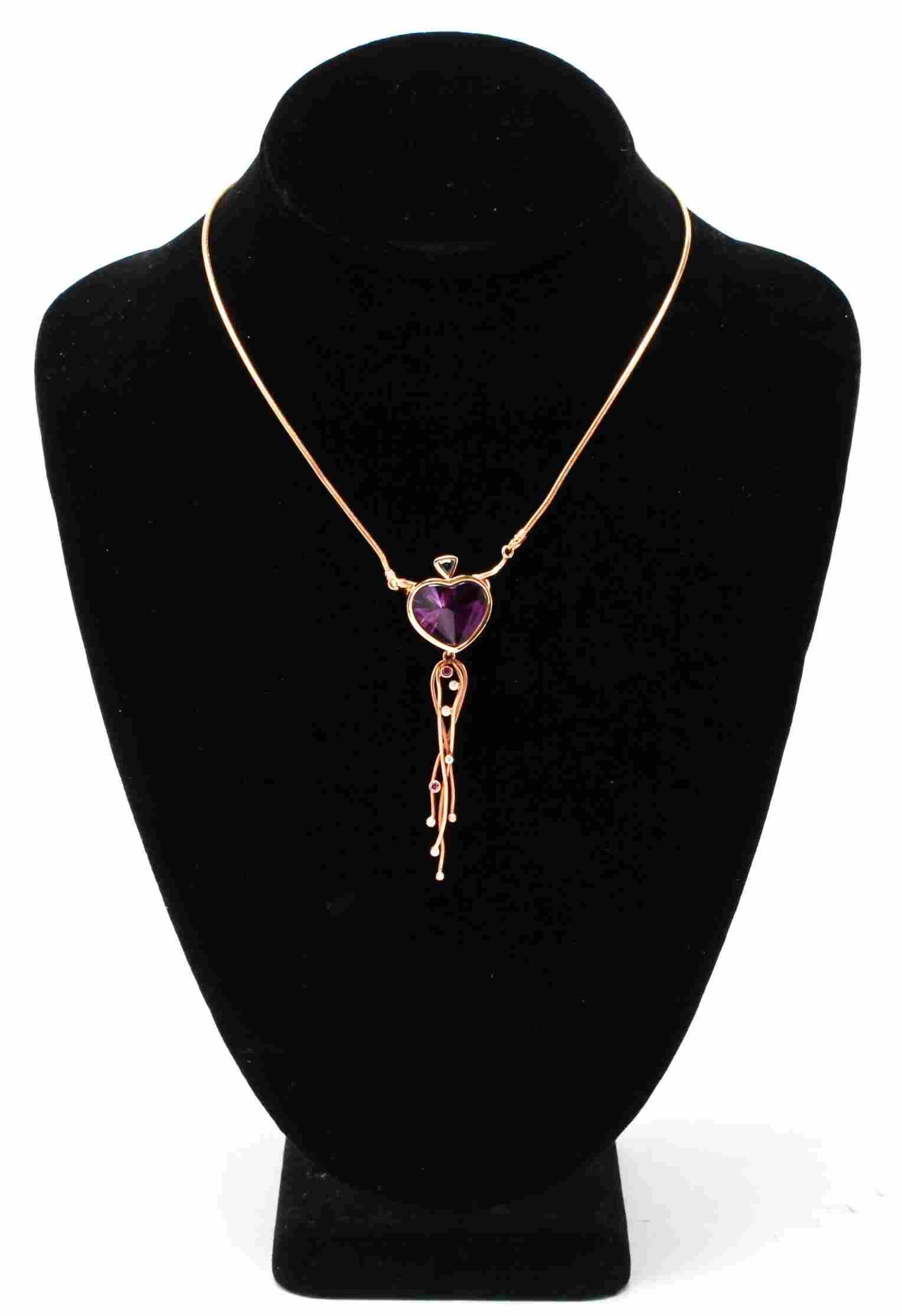 18K Gold Emerald Amethyst Diamonds Dangle Necklace
