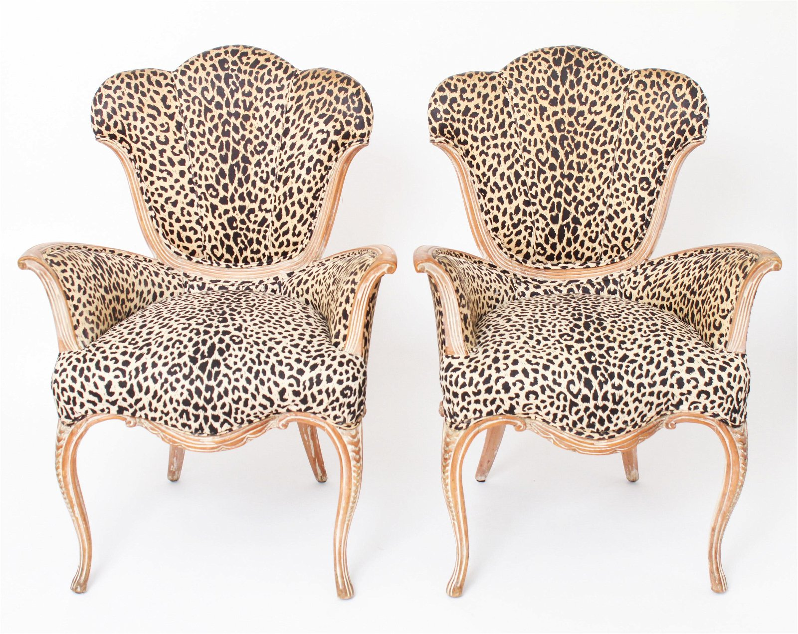 Art Deco w Leopard-Print Carved Wood Chairs, Pair