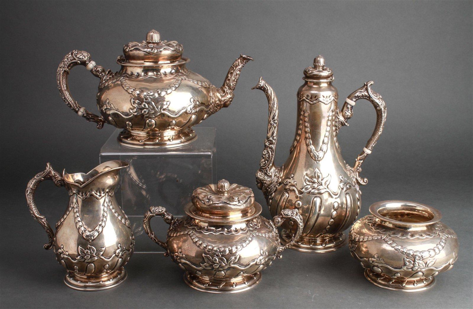 Art Nouveau Gorham Silver Ornate Tea Service 5 Pcs