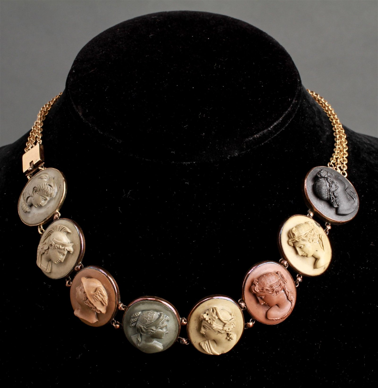 14K Gold Carved Lava Cameos 8 Greek Busts Necklace