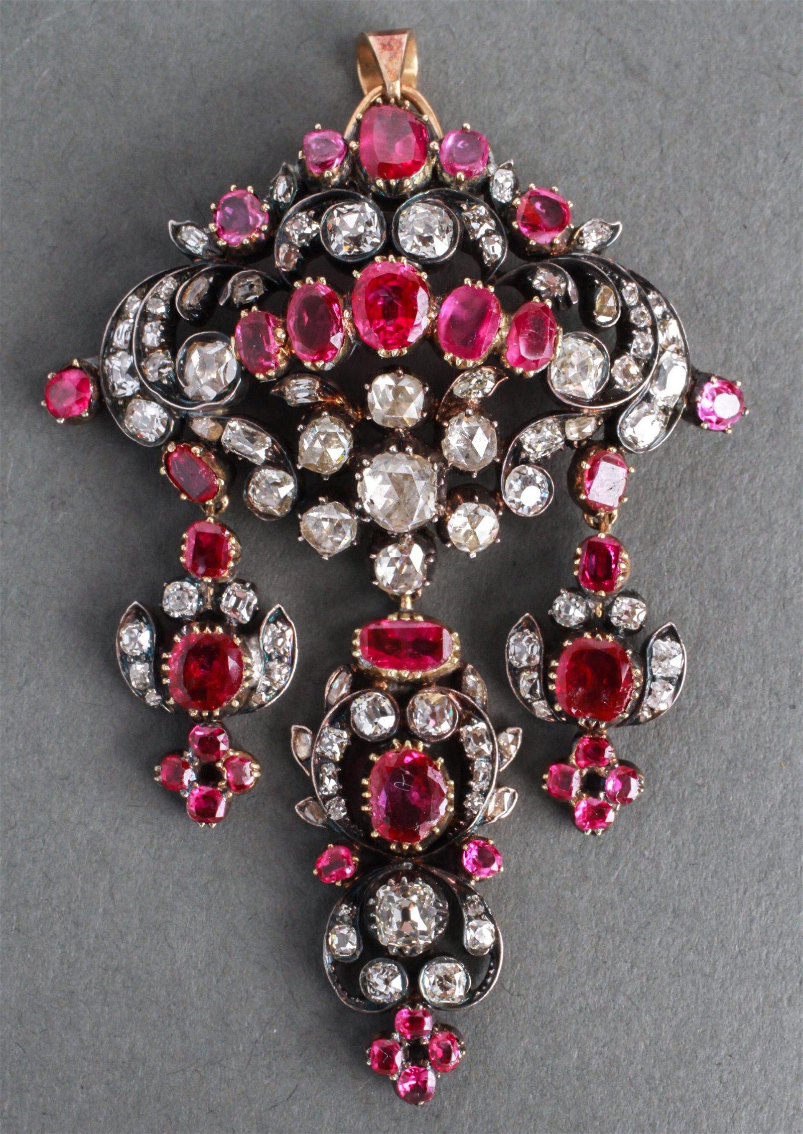 14K Gold & Silver Diamonds & Rubies Pendant 19th C