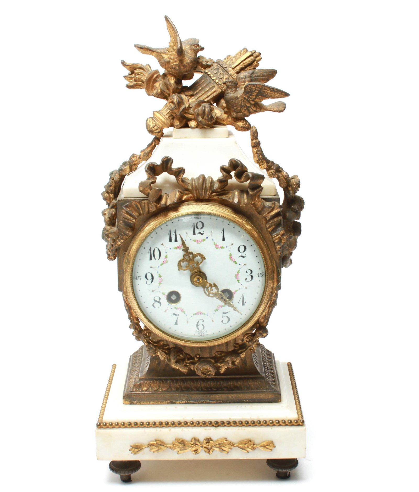 French Gilt Metal & White Marble Mantel Clock
