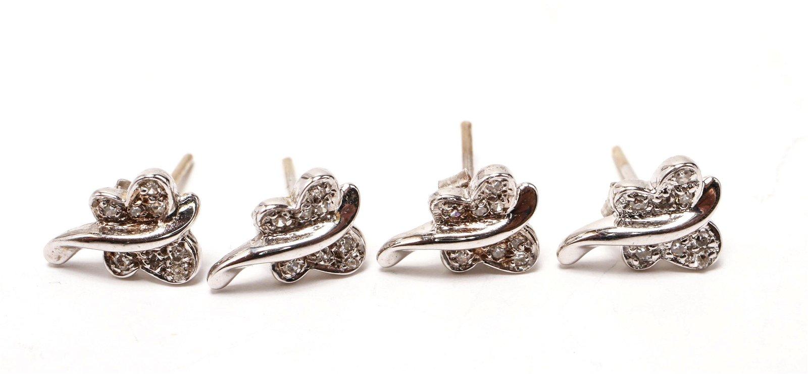 18K White Gold & Diamonds Butterfly Earrings 2 Pr